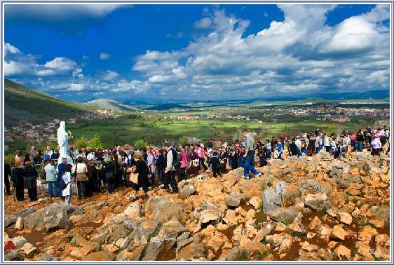 The top of Apparition Hill in Medjugorje where visionary Ivan Dragicevic has public apparitions during the Summer, and where Silvia Busi stood up  and walked on June 24th 2005