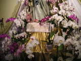 Flowers and title below statue Our Lady